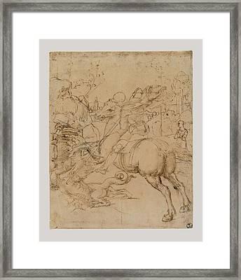 Sanzio Raffaello, St George Killing Framed Print by Everett