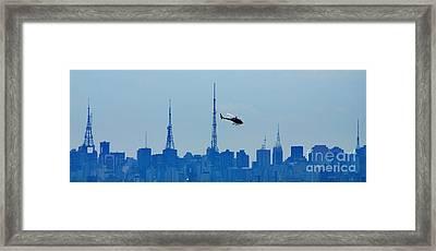 Sao Paulo - Paulista Skyline And Helicopter Framed Print