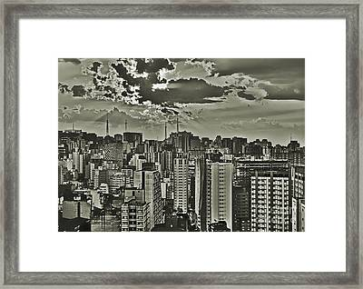 Sao Paulo At A Cloudy Spring Dusk - Downtown Looking Towards Paulista Framed Print by Carlos Alkmin