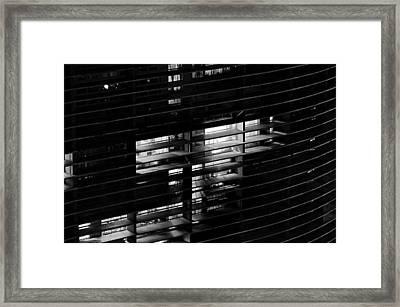 Sao Paulo - Brazil - Detail Of Copan Building By Night Framed Print by Carlos Alkmin