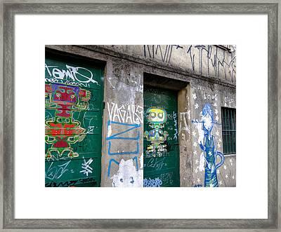 Sao Paulo Green Doors Framed Print by Julie Niemela
