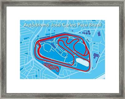 Sao Paulo Race Track Framed Print by Big City Artwork