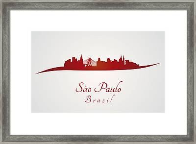 Sao Paulo Skyline In Red Framed Print by Pablo Romero