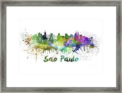 Sao Paulo Skyline In Watercolor Framed Print