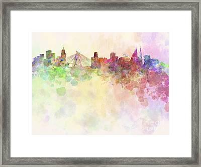 Sao Paulo Skyline In Watercolour Background Framed Print by Pablo Romero