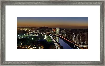 Sao Paulo Skyline At Dusk - Jockey Club - Pinheiros River Towards Pico Do Jaragua Framed Print by Carlos Alkmin