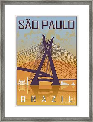 Sao Paulo Vintage Poster Framed Print