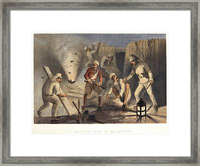 Sappers At Work In The Batteries Framed Print