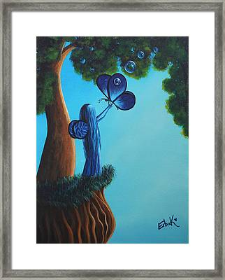 Sapphire Fairy Original Whimsical Painting Framed Print by Shawna Erback