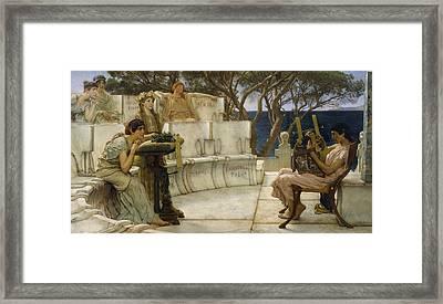 Sappho And Alcaeus Framed Print by Lawrence Alma-Tadema