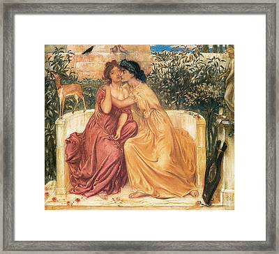 Sappho And Erinna In A Garden Of At Mitylene Framed Print by Simeon Solomon