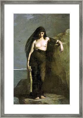 Sappho Framed Print by Auguste Mengin