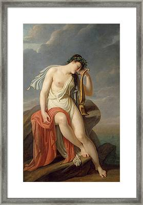 Sappho On The Leucadian Cliff Framed Print by Pierre-Narcisse Guerin