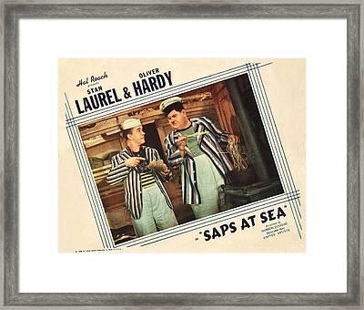 Saps At Sea, Us Lobbycard, From Left Framed Print by Everett