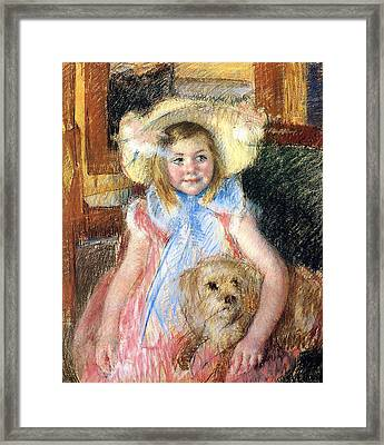 Sara And Her Dog Framed Print by Mary Stevenson Cassatt