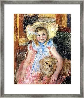 Sara Holding Her Dog Framed Print by Marry Cassatt