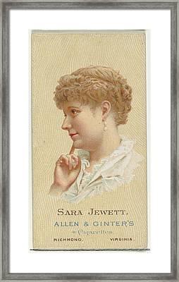 Sara Jewett, From Worlds Beauties Framed Print by Allen & Ginter