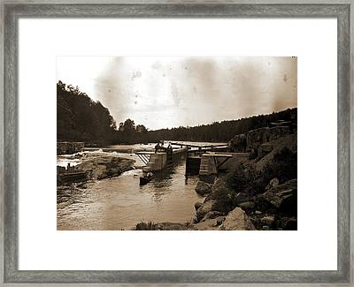 Saranac River Dam And Lock, Adirondack Mtns Framed Print by Litz Collection