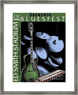 Framed Print featuring the digital art Sarasota Bluesfest-green by Megan Dirsa-DuBois