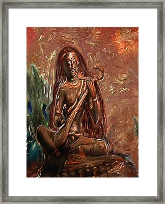 Saraswati Playing Veena Framed Print by Shubnum Gill