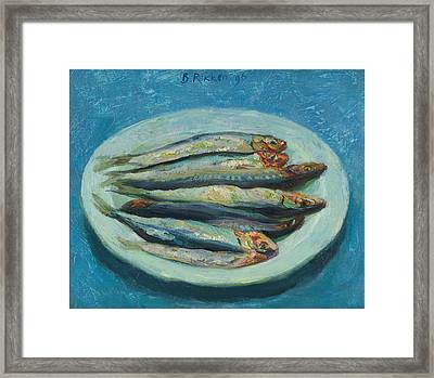 Sardines On A White Plate Framed Print by Ben Rikken
