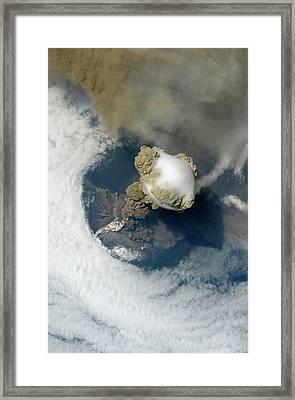 Sarychev Volcano Framed Print by Nasa/science Photo Library