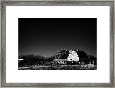 Saskatchewan Barn On Farm In Rural Canada Framed Print