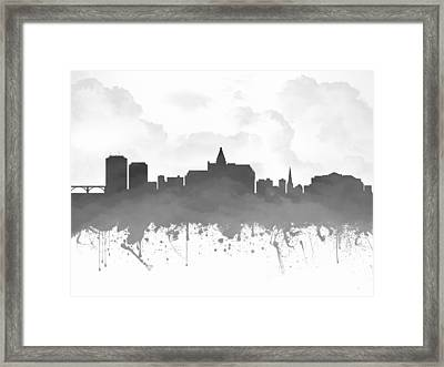 Saskatoon Saskatchewan Skyline - Gray 03 Framed Print by Aged Pixel