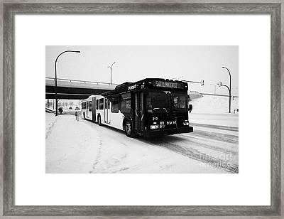 Saskatoon Transit Bus Travelling Along 8th Street In The Snow Saskatchewan Canada Framed Print