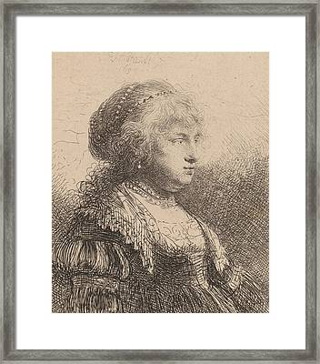 Saskia With Pearls In Her Hair Framed Print by Rembrandt
