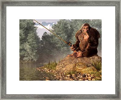 Sasquatch Goes Fishing Framed Print
