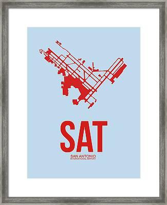 Sat San Antonio Airport Poster 1 Framed Print by Naxart Studio