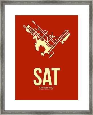 Sat San Antonio Airport Poster 2 Framed Print by Naxart Studio
