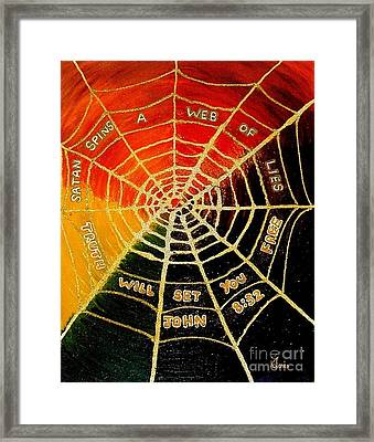 Satan's Web Of Lies Framed Print