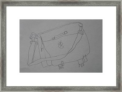 Framed Print featuring the drawing Satchel by AJ Brown