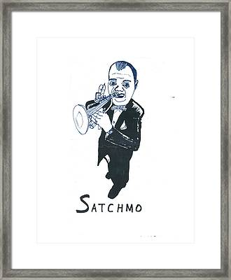 Framed Print featuring the drawing Satchmo by Don Koester