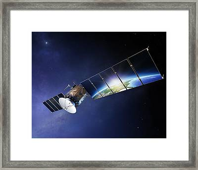 Satellite Communications With Earth Framed Print by Johan Swanepoel