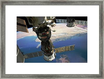 Satellite In Space With View Of Italy Framed Print