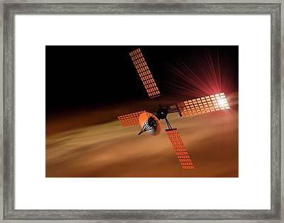 Satellite Orbiting Mars, Artwork Framed Print by Victor Habbick Visions
