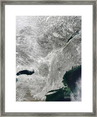 Satellite View Of A Large Noreaster Framed Print by Stocktrek Images