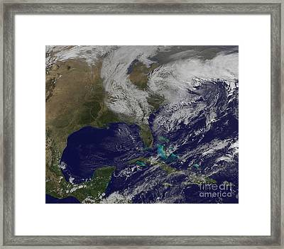 Satellite View Of A Noreaster Storm Framed Print by Stocktrek Images