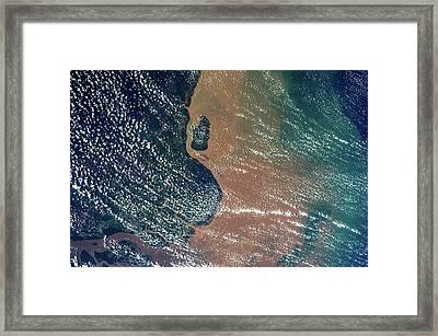 Satellite View Of Coastal Area Of Amapa Framed Print