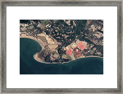 Satellite View Of Coastal Town In France Framed Print