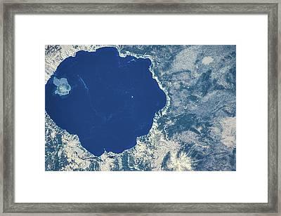 Satellite View Of Crater Lake, Oregon Framed Print