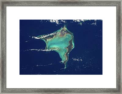 Satellite View Of Crooked Island Framed Print