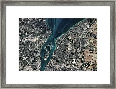 Satellite View Of Detroit River Framed Print
