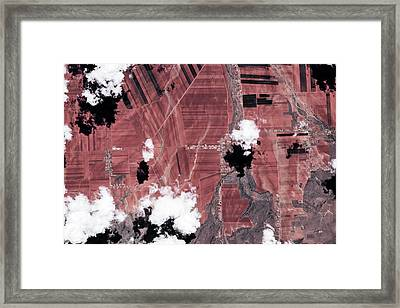 Satellite View Of Fields, Chihuahua Framed Print