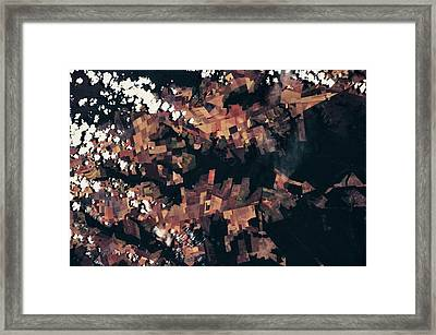 Satellite View Of Fields, Mato Grosso Framed Print