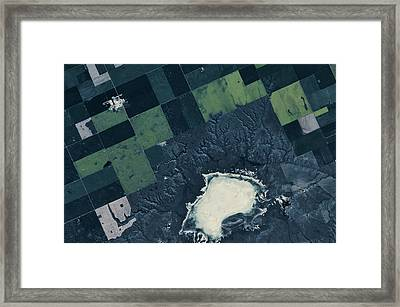 Satellite View Of Fields Framed Print