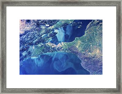 Satellite View Of Istanbul With Sea Framed Print